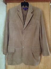 MEN'S RALPH LAUREN PURPLE LABEL ITALY TAN LAMB SUEDE LEATHER BLAZER JACKET 40 R
