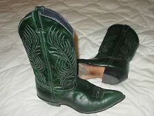 CODE WEST GREEN EATHER WOMEN 10 M W/ LEATHER SOLE COWBOY WESTERN BOOT USA MADE