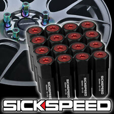 16 BLACK/RED CAPPED ALUMINUM 60MM EXTENDED TUNER LUG NUTS FOR WHEELS 12X1.5 L16