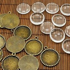 10sets Antique Bronze Domed Magnifying Glass Cabochon Photo Pendant DIY Making