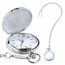Pocket Watch On Chain - Antique Style White Steel Traditional Time Piece