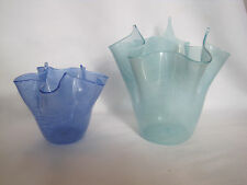 Pair of Murano Art Glass Bowls or Vases, Blue and Green with White Stripes