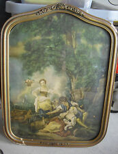 COOL Late 1800s Litho Print Framed - Man Child Women in Woods LOOK