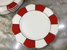 Grace's Teaware Salad Plates. Red, White And Gold. Set Of 4. Scalloped Edge New