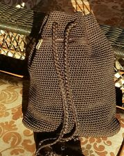 THE SAK PURSE CHOCOLATE BROWN BUCKET BAG CROCHET KNIT HANDBAG WITH DRAW STRING