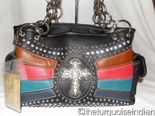Black Montana West Western Rhinestone Cross with Pink Turquoise Colorful PURSE