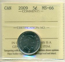 2009 Canada 5 Cent Certified ICCS MS-66