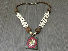 AMAZING RED CORAL &MULTI-STONE.925 TIBETAN SILVER & BRASS VINTAGE NECKLACE