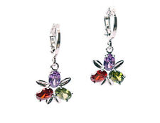 Multi-Colour Austrian Crystal Drop Dangle Rhodium Plated Earring Lever Back