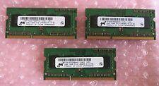 3 x Micron MT8JSF25664HZ-1G4D1 2GB PC3-10600 DDR3-1333MHz 204-Pin Laptop Memory