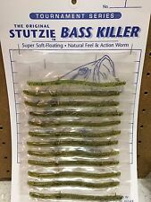 """Stutzie Rubber Fishing Worms """"Bass Killer""""      (12 Per Package)"""