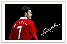 DAVID BECKHAM MANCHESTER UNITED SIGNED AUTOGRAPH PHOTO PRINT  SOCCER