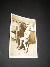 social history 1920's little boy with big dog on chair photograph 3.3'inch