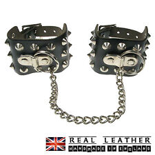 Black Conical Studded Real Leather Chain Gothic Punk Handcuff Made In England