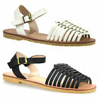 Womens Ladies New Low Flat Heel Ankle Strap Gladiator Summer Sandals Shoes Size