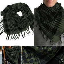 Green/Black Plaid Shemagh Keffiyeh Military Light Thin Scarf Shawl Kafiya Wrap