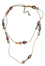BEIGE SUPER LONG POLISHED STONE NECKLACE WITH AMBER & GREEN BEADS (ZX54)
