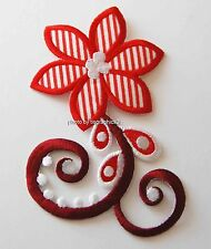 Red Hat Striped Flower Fabric Applique - Sew or Iron on / Shirt / Pants / Pocket