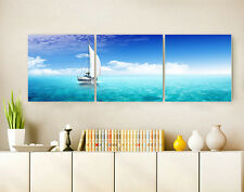 "3PC 16"" Abstract Wall Decor Art Oil Painting on Canvas NO frame Sailing Ocean 47"