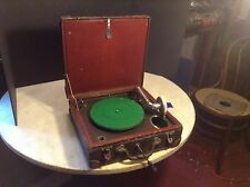 Circa 1925 Bing Toy Portable Disc Phonograph Unique w/Alligator Grained Suitcase