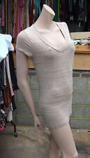 Merona S P Stunning Sheer Below Hip Extra Long Fine Beige Cap Sleeve Top V Front