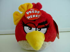 "New Angry Birds Valentines Plush Red Girl Bow Stuffed Animal 5"" with SOUND NWT"