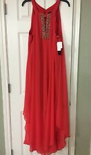 20W NWT Betsy & Adam TOM RED Silk Full Length Maxi Formal dress Double Lined