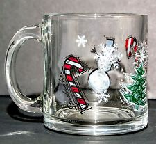 STARBUCK Christmas Art Glass Coffee Mug Holiday Clear Cup Tea Snowman Candy Cane