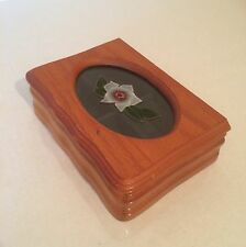 MELE Wooden Jewellery Box Hinged Glass Panel Flower Design Lid VGC