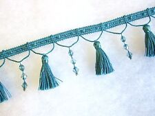 10mts delicate 6.5cm beaded curtain tassel fringe trimming turquoise blue trim