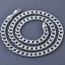 Jewelry Silver White Gold Filled Womens Mens Cuban Curb Chain Necklace 19.69''