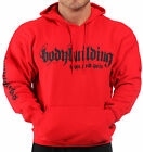 BODYBUILDING CLOTHING HOODIE WORKOUT TOP RED IRON & PAIN LOGO G-64