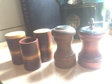 nice lot 3 wood SALT N PEPPER SHAKERS w/TOOTHPICK HOLDER+1 shaker 1 grinder/mill