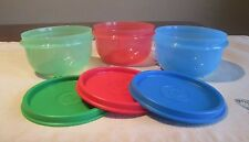 Tupperware NEW LOT 3  Primary COLORS Ideal Lit'l Little 8 oz snack Bowls H seals