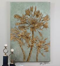 "HUGE 72"" RICH HAND PAINTED CANVAS TUSCAN FLOWERS LEAF PAINTING WALL ART MODERN"