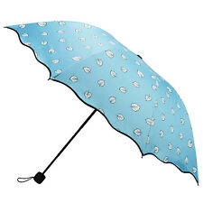 NEW Women Aqua Leaves Color Changing Magic Umbrella Rain Wind Anti-UV Folding
