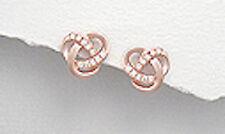 Rose Gold Over 1.3g Solid Sterling Silver Celtic Twist CZ Earrings Vermeil
