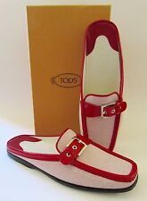 """NIB TOD'S Italy Mules/Loafers Red Patent Leather """"Pellame Check"""" Sz 9.5"""