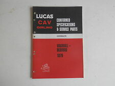 LUCAS Parts List 1970 VAUXHALL BEDFORD cars and commercials