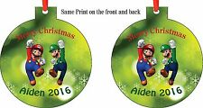 Personalized Super Mario / Luigi Bros Christmas Ornament (Add Any name You Want)