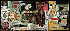 "Jean-Michel Basquiat ""Notary"" HUGE Oil Painting on Canvas 24x49"" Expressionism"