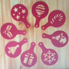 Red Christmas Cake Cappuccino Stencils Cookie Latte Stencil Coffee Cake Mold