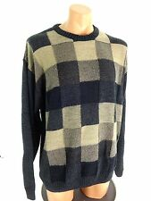 NATURAL ISSUE MENS HEAVY KNIT ACRYLIC SWEATER CHECKERED PATTERN SIZE XXL