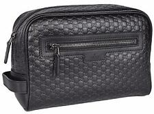 New Gucci Men's 419775 Black Leather Micro GG Guccissima Large Toiletry Dopp Bag