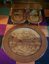 3 Vintage MCM Hand Carved Black Forest Coffee and End Tables from West Germany