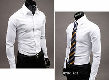 Luxury Mens Stylish Casual Dress Shirt Slim Fit T-Shirts Formal Long Sleeve New