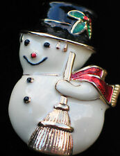 GOLD TONE THICK ENAMEL WINTER CHRISTMAS SNOWMAN SNOWLADY PIN BROOCH PENDANT 2""