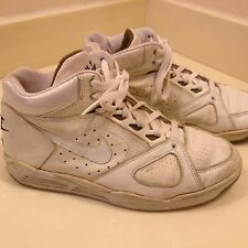 Vintage 1991 Nike Air Flight Jordan Leather Basketball Shoes White Blue Size 8.5