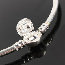 Silver plated Bangle Bracelet For European Charm Bead Round Clasp