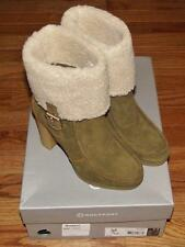 NEW in Box Rockport Womens Courtlyn Fur Low Boot Olive Suede Leather High Heel